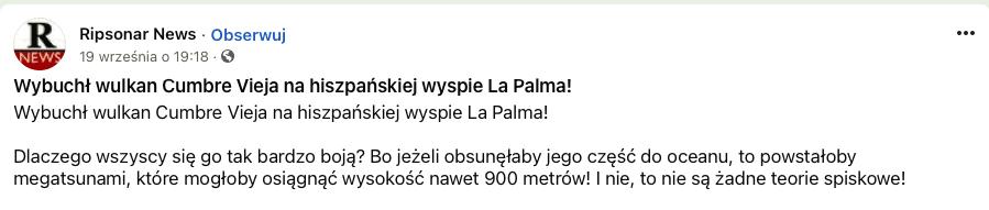 Post naFacebooku nawiązujący doteorii, żew wyniku erupcji część wulkanu może osunąć się dowody ispowodować falę tsunami owysokości 900 m