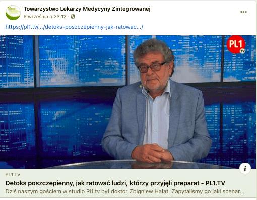 Post zawierający link dorozmowy ze Zbigniewem Hałatem