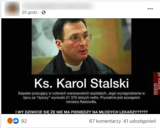 Zrzut ekranu posta, wktórym udostępniono mema zwizerunkiem Karla Thomasa Stehlina: ciemnowłosego mężczyzny wokularach ikoloratce.