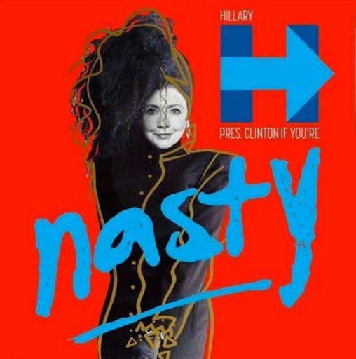 """Mem przedstawiający Hilary Clinton naprzerobionej okładce albumu Janet Jackson zatytułowanego """"Control"""", zktórej pochodzi utwór """"Nasty""""."""