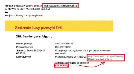 Przykład maila, który okazał się phishingiem